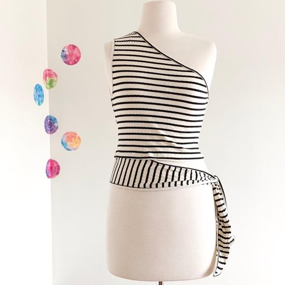 c4af9e29d76 MANGO striped one shoulder side tie strap crop top.  M_5c4497f7534ef9de0cbae80e